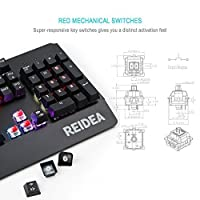 REIDEA KM06 Mechanical Gaming Keyboard 104 Backlit Anti-Ghosting Keys with Red Switch and Programable Full RGB Backlighting