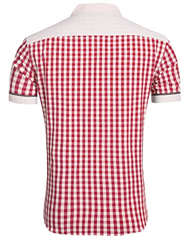 Coofandy Herren Sommer Hemd Kurzarm Freizeithemd Trachtenhemden Classic T-Shirt Basic Oktoberfest Stil Weinrot