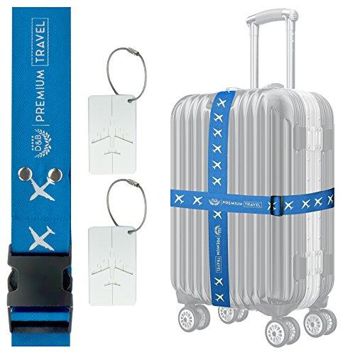 D&B Gepäckgurt SET: 4-Stück Koffergurt + 2-Stück Gepäckanhänger - reflektierend, reissfest, S-XXL Koffer, farbig dunkelblau