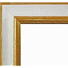 Marco Charleston 92 x 44 cm madera maciza, marci pomposo de alta calidad 44 x 92 cm, color seleccionado: oro blanco con vidrio acrílico antirreflector 1 mm