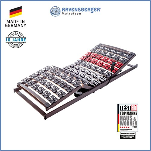 Ravensberger Matratzen VARIFLEX Stabiler Systemtellerrahmen - Made in Germany FERTIG MONTIERT - 5-Zonen - Elektrisch - 4-Fach Segmentteller-Federelementen RAVENSBERGER 80x200 cm