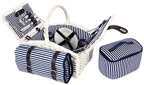 4 Personen Weiden Picknickkorb Picknickkoffer Set mit Decke, Besteck, Wein Gläser, Teller (Weiß)
