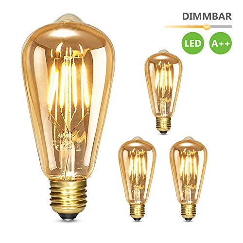 Albrillo Edison Vintage Glühbirne E27 - Dimmbar 6W 530 LM LED Filament Lampe, Ersazt 60W Halogenlampen, Warmweiß 2500K Antike Lampe Ideal für Nostalgie und Retro Beleuchtung im Haus Café Bar, 3er Pack
