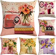 Faylapa 6 Pack Flower with Vase Pillow Cases,Printed Decorative Cushion Cover Pillowcase for Home Sofa Car Dec