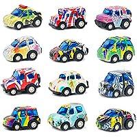 Symiu Coches de Juguetes VehículosFricción Cars MiniatureCamion Policia 12 Pedazos Regalo para Niños 3 4 5 Años