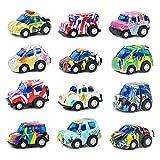 Auto Spielzeug Set Fahrzeuge Kinder Pull Back Autos 12 Stück Die-Cast Spielzeugautos Legierung Graffiti Modell Geschenk für Kinder ab 3 4 5 6 Jahre Mädchen Junge (Zufällige Farbe)