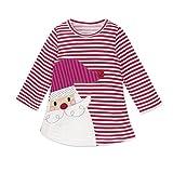 Baby Mädchen Prinzessin Kleid Cartoon Tiere Lange Ärmel/Kurzarm T-Shirt Jerseykleid mit Streifen Crewneck Kleid (80, Rot - Weihnachtsmann)