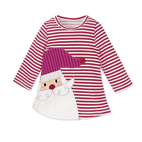 Baby Mädchen Prinzessin Kleid Cartoon Tiere Lange Ärmel/Kurzarm T-Shirt Jerseykleid mit Streifen Crewneck Kleid (120, Rot - Weihnachtsmann)