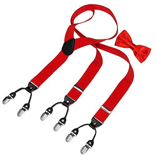 HBF Hosenträger mit den 6 starken Clips und Fliege KIT mehrfarbig elastisch Y-formoig Länge für Damen und Herren Playshoes in verschiedenen Designs (Rot) - Rote Leder-shirt