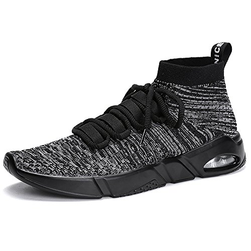 Socke Tennis-schuhe (PAMRAY Herren Fitness Turnschuh Running Slip On Schuhe mit Socke Hohe Top Knit Gym Training Sneaker Sports Air Sohle Damen Laufschuhe Grau 43)