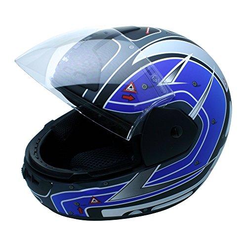 Roadstar Integral-Helm Arrow Topgun, Schwarz/Blau (Matt), Größe 55/56