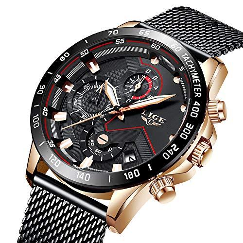 Uhren Herren Schwarz Edelstahl Mesh Band Chronograph Quarz Uhr Männer Datum Kalender Wasserdicht Multifunktions Armbanduhr