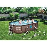 BestWay Power 56714 - Juego de piscinas con marco de acero ovalado de ratán sobre el