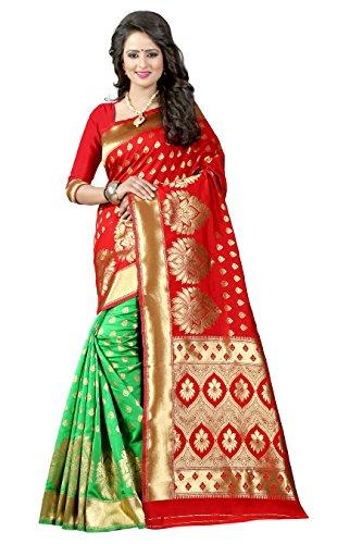 Jhtex Fashion Women's Banarasi Silk Saree ( Banarasi08_Red&Green)