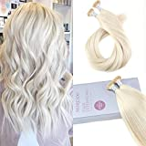 Moresoo 18 Pouces Blond Platine/#60 Fusion Pre-bonded I Tip Nail Kératine Extensions de Cheveux Remy Hair Cheveux Humain Bresilienne Extensions 1g/s 50g