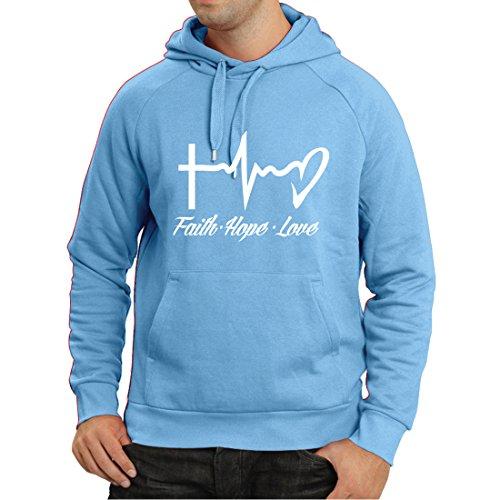 Kapuzenpullover Glaube - Hoffnung - Liebe - 1. Korinther 13:13, christliche Zitate und Sprichwörter, religiöse Sprüche (Medium Blau Mehrfarben)