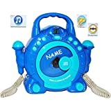 """Idena 6805350 Kinder CD-Player - incl. Wunschname - """"SING-A-LONG"""" blau mit 2 Mikrofonen und LED-Display"""