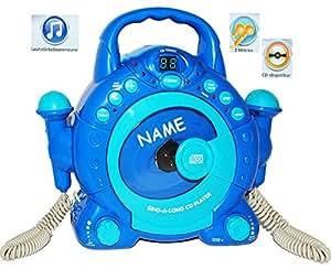 "Idena 6805350 Kinder CD-Player - incl. Wunschnamen - ""SING-A-LONG"" blau mit 2 Mikrofonen und LED-Display"