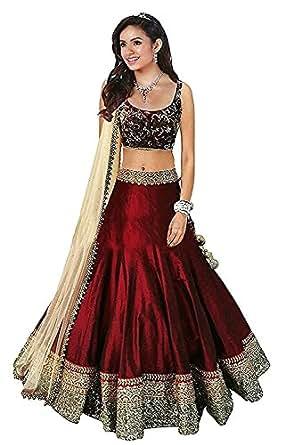 F Plus Fashion womens bangalory silk maroon Lehenga_Free Size_SF121