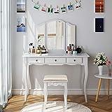HOMECHO Coiffeuse de Chambre, Table de Maquillage, 3 Miroirs Pivotants et Démontables, 1 Tabouret et 3 Tiroirs, Blanc 108 x 45 x 134 cm
