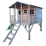 Stelzenhaus Willi- Spielturm Holz mit Rutsche für den Garten, FSC zertifieziert/ TÜV geprüft inkl. Dachpappe (Stelzenhaus mit Rutsche)