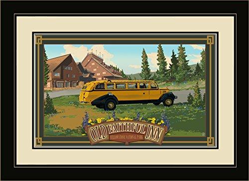 Old Faithful Inn, Yellowstone Park (Northwest Art Mall Yellowstone National Park Old originalgetreue Inn gerahmtes Wandbild Kunst von Mike rangner, 13von 40,6cm)