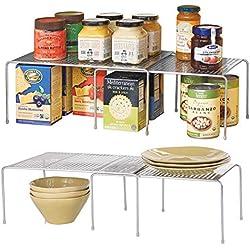 mDesign étagère de Cuisine (Lot de 2) - Rangement de Cuisine en métal pour Placard ou Plan de Travail - étagère de Rangement pour Vaisselle, épices, Condiments, etc. -