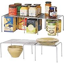 mDesign Juego de 2 Estantería metálica extensible – Crea más espacio – Práctica estantería cocina para