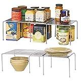 mDesign Lot de 2 étagère de Cuisine - égouttoir Pratique pour Plus d'espace de Rangement - étagère Cuisine télescopique rétractable - en métal