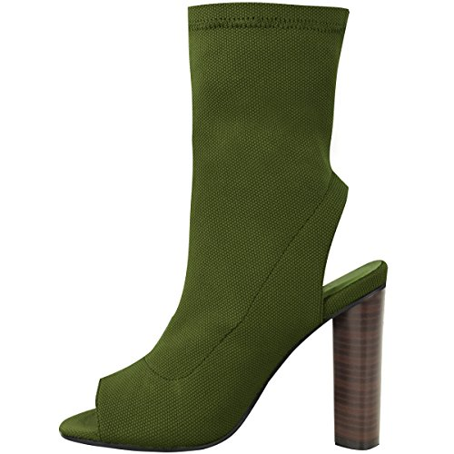 Donna Stivali Caviglia Donna Lavorato A Maglia Elasticizzata Celebrità Tacco Largo Scarpe Con Punta Aperta Misura Verde Cachi A Maglia