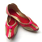 Fuschia Pink Pointed Toe Ballet Flat Shoes with Pom Pom Balls/Bohemian Shoes/Handmade Indian Designer Women Shoes or Sandals