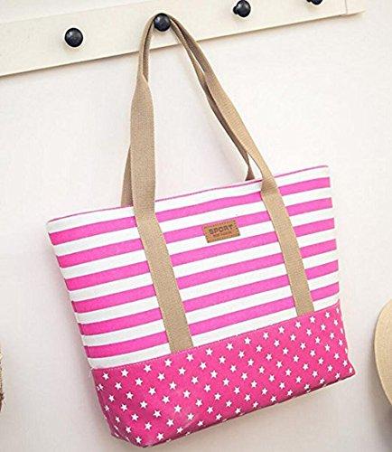 9288c50d92164 Casa Damen Canvas große Tote Schultertasche Streifen und Punkte  Strandtasche Shopper Badetasche Handtaschen Beach Bag Pink