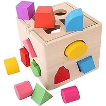 SainSmart Jr. Chispa CB-26 Forma De Madera Clasificación Caja, De 13 Agujeros Bloques De Madera, De Color Reconocimiento De Formas