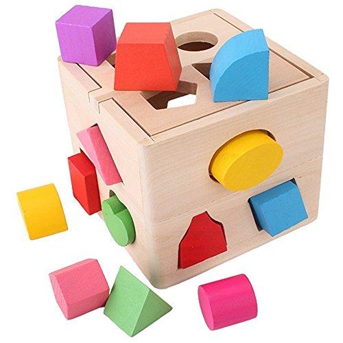 SainSmart Jr. Holzpuzzle Holzspielzeug Sortierbox Bunte Bauklötze für Kinder ab 2 Jahr