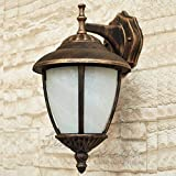 Antik - farbende Wand Außenleuchte mit Alabasterglas IP43 E27 230V down aus Aluguss Außenlampe Wandleuchte Wandlampe Beleuchtung Hof Garten