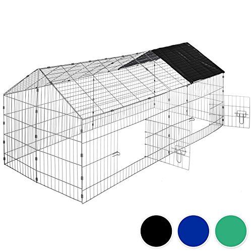 Tectake gabbia da esterno per conigli con protezione parasole | lungh. x largh. x h 180 x 75 x 75 cm - disponibile in diversi colori - (tetto nero | no. 402421)
