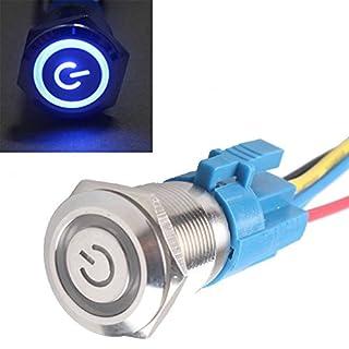 Mintice™ 19mm 12V 5A Power Symbol Angel Eye Halo Car Vehicle Blue LED Light Metal Push Button Toggle Switch Socket Plug