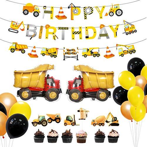 Amycute 31 Stück BAU Geburtstag Party Dekorationen , Lastkraftwagen Luftballons, Straßenschild Tortendekoration für Dumper Truck Car Zone unter dem Motto Party Favors Dekor. (Bau-geburtstags-ballons)