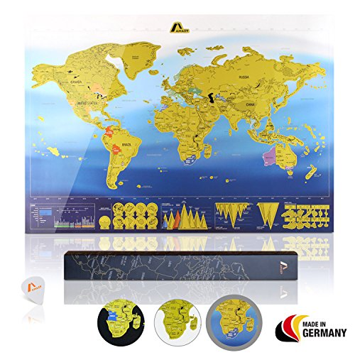 Amazy Weltkarte zum Rubbeln XXL inkl. Rubbelchip + Gratis-Packliste (PDF) - Große Rubbel-Landkarte als schöne Erinnerung an bisherige Reisen | Made in Germany (Blau | 84 x 59 cm)