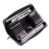 APHISONUK Frauen Männer RFID Blockieren Lange Geldbörse Aus Echtem Leder Kartenmappe Große Kapazität Kreditkarteninhaber Damen Herren Portemonnaie (24 Schlitze)