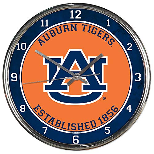 Wincraft Auburn Tigers Est 1856 12 inch Round Wall Clock Chrome Plated -