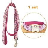 TVMALL Hund Set Halsband verstellbar Outdoor Pet Leine Seil Set Halsband Bohemian-Stil Hundehalsband für mittelgroße und Kleine Hunde(Blumenfee Rosa,XL)