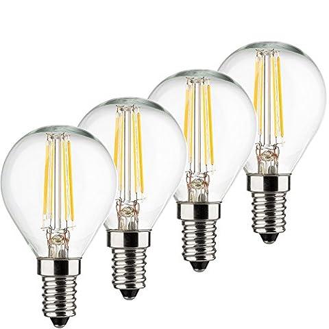MÜLLER-LICHT 400197 A++, 4er-SET Retro-LED Lampe Miniglobe ersetzt 40 W, Glas, E14, weiß, 4.5 x 4.5 x 7.7 cm