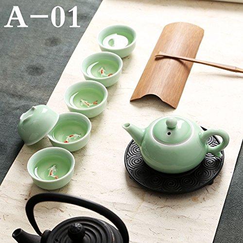 CUPWENH Traditionellen Chinesischen Celadon Porzellan Gong Fu Teeservice Keramik Teekanne Teetasse Set Blau Weiß Karpfen Porzellan Terrine Kung Fu Tee Set