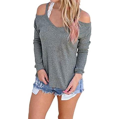 Bekleidung Longra Frauen Langarm Strick Pullover lose Pullover Pullover trägerlosen Tops Strickwaren (S,