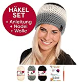 myboshi Häkel-Set Mütze   aus No.1   Anleitung + Wolle   mit passender Häkelnadel Ikoma   schwarz, Elfenbein, titangrau