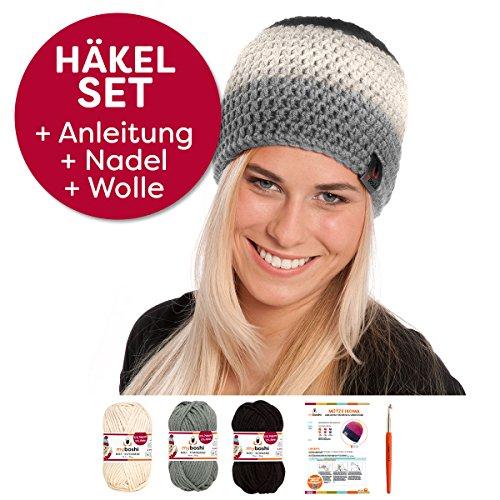 myboshi Häkel-Set Mütze | aus No.1 | Anleitung + Wolle | mit passender Häkelnadel Ikoma | schwarz, Elfenbein, titangrau