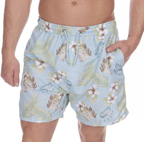 Cargo-Bay-para-hombre-estampado-Floral-nadar-pantalones-cortos-azul-azul-claro-Small