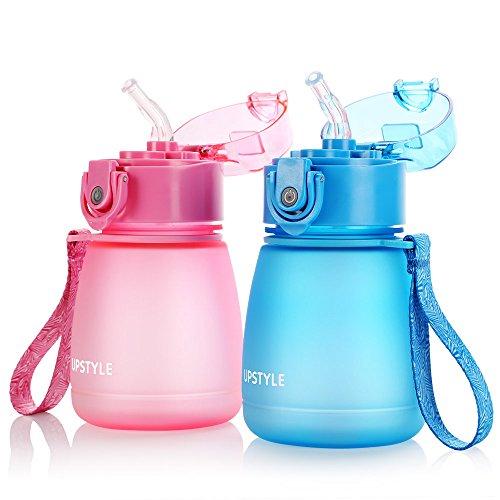 UPSTYLE BPA-frei Kinder Mini Wasser Botter mit Stroh auslaufsicher Scrub Kunststoff Sport Wasser Flasche Reise Tasse Saft Tasse für Kinder, 10oz (300ml), PC510 Pink/Blau (Sport Stroh Flasche)