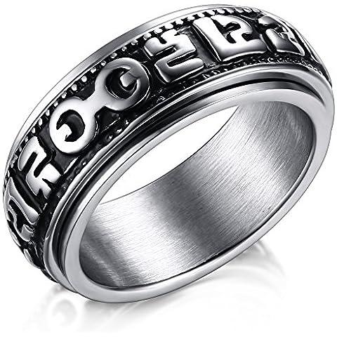 LianDuo acciaio inossidabile sei parole Mantra filatoio ad anello per donne e uomini